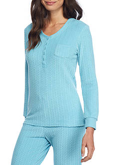 Echo Cable Knit Henley Pajama Top
