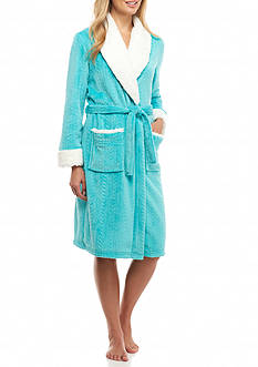 New Directions Intimates Royal Plush Sherpa Collar Robe