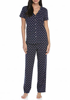 Nautica Short Sleeve Cotton Knit Pajama Set