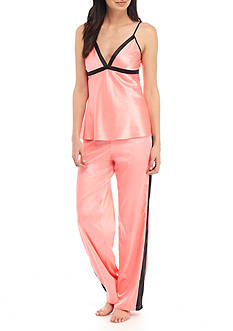 Jones New York Satin Colorblock Cami and Pant Pajama Set