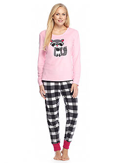 PJ Couture 2-Piece Raccoon Microfleece Pajama Set