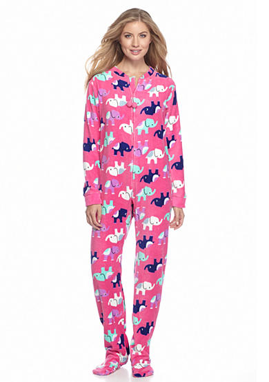 PJ Couture Pink Elephant Zip Front Footed One Piece Pajama