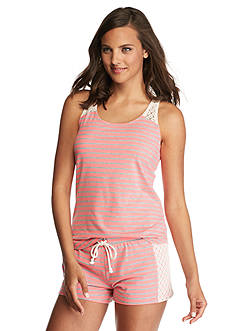 PJ Couture Stripe Crochet Shortie Pajama Set