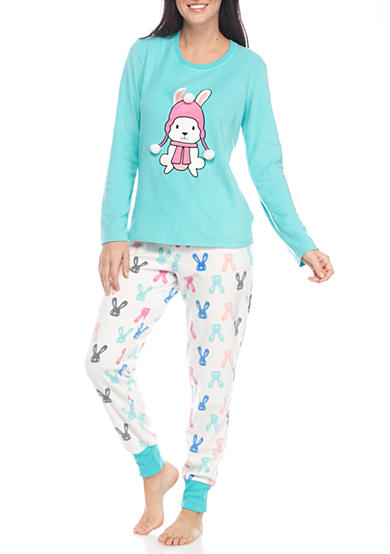 PJ Couture Two Piece Bunny Pajama Set