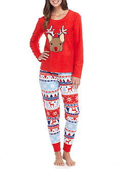 PJ Couture Two Piece Reindeer Pajama Set