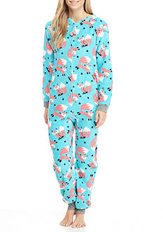 PJ Couture Turquoise Coral Fox One-Piece Pajama