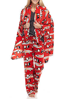 PJ Couture Grey Penguin Pajama Set with Blanket