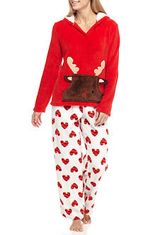 Age Group Reindeer Hood Plush Pajama Set