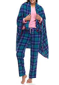 PJ Couture Pink Plaid Pajama Set with Blanket