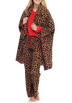 PJ Couture Red Animal Print Pajama Set with Blanket
