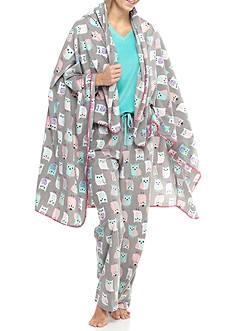 PJ Couture Turquoise Owl Pajama Set with Blanket