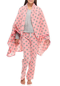 PJ Couture Gray Dot Pajama Set with Blanket