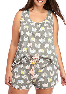 PJ Couture Plus Size Chic Elephant Pajama Set