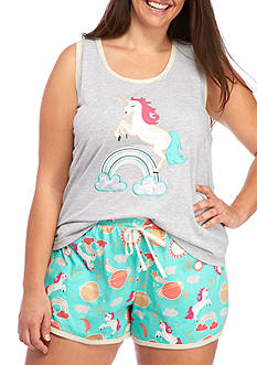 PJ Couture Plus Size Unicorn Shortie Pajama Set