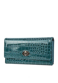 New Directions Cactus Croco Filemaster Clutch with Safekeeper