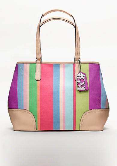 COACH HAMPTONS WEEKEND STRIPE MEDIUM TOTE