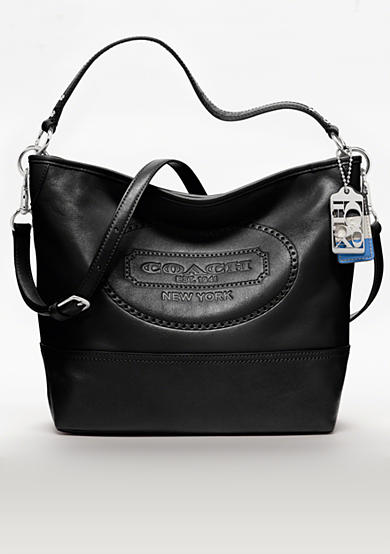 COACH HAMPTONS WEEKEND LEATHER PERFORATED SHOULDER BAG