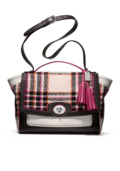 COACH LEGACY COLORBLOCK PLAID FLAP CARRYALL
