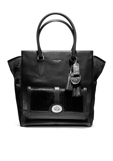 COACH LEGACY HAIRCALF POCKET TANNER TOTE