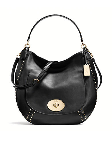 COACH STUDDED CALF LEATHER CIRCLE HOBO