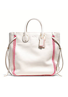 COACH POP LACING WHIPLASH  LEATHER TATUM TALL TOTE