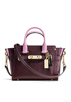 COACH COLORBLOCK LEATHER 20 SWAGGER SATCHEL