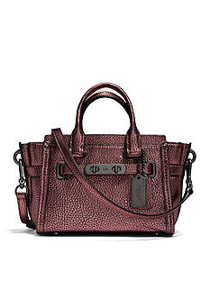 COACH METALLIC PEBBLE LEATHER 20 SWAGGER SATCHEL