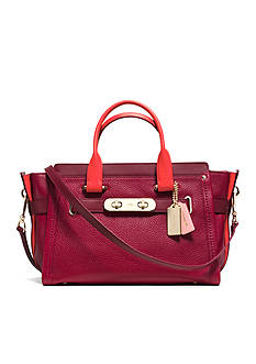 COACH COLORBLOCK PEBBLE LEATHER SWAGGER SATCHEL