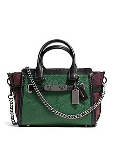 COACH PEBBLE LEATHER 20 SWAGGER SATCHEL WITH CHAIN