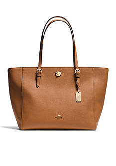 COACH CROSSGRAIN LEATHER TURNLOCK TOTE