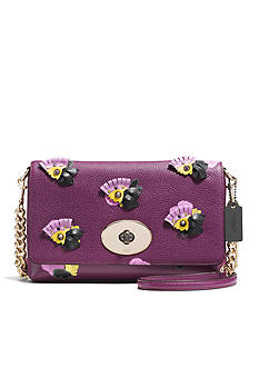 COACH FLORAL APPLIQUE LEATHER CROSSTOWN CROSSBODY