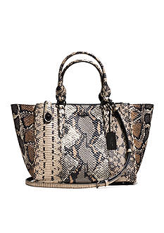 COACH PIECED EXOTIC EMBOSSED LEATHER CROSBY CARRYALL