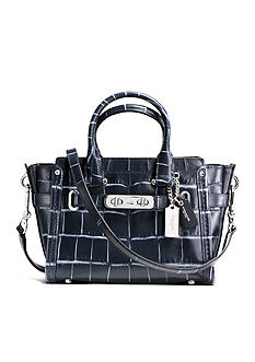 COACH CROC EMBOSSED DENIM LEATHER SWAGGER 20 SATCHEL