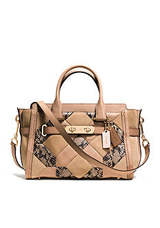 COACH PATCHWORK EXOTIC EMBOSSED LEATHER SWAGGER 27 SATCHEL