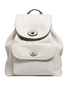 COACH COACH PEBBLE LEATHER MINI TURNLOCK RUCKSACK
