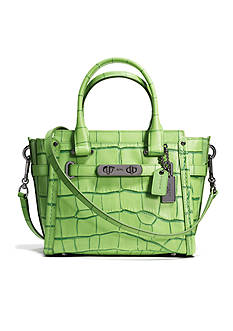 COACH COACH SWAGGER 21 IN CONTRAST EXOTIC EMBOSSED LEATHER