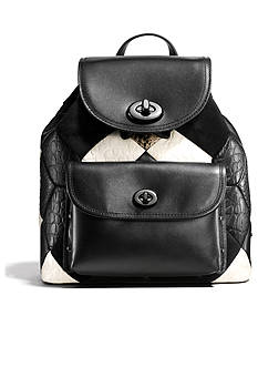 COACH CANYON QUILT MINI TURNLOCK RUCKSACK IN EXOTIC EMBOSSED LEATHER