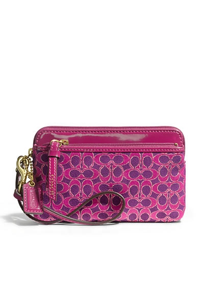 COACH POPPY METALLIC SIGNATURE DOUBLE ZIP WRISTLET