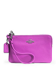 COACH LEATHER SMALL L-ZIP WRISTLET