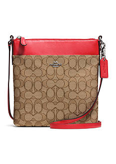 COACH SIGNATURE  FABRIC NORTH/SOUTH SWINGPACK