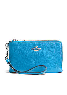 COACH POLISHED PEBBLE LEATHER DOUBLE CORNER ZIP WRISTLET