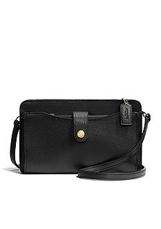 COACH PEBBLE LEATHER MESSENGER WITH POP-UP POUCH
