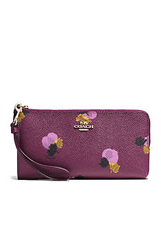 COACH FLORAL PRINT COATED CANVAS ZIP WALLET