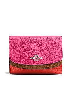 COACH COACH MEDIUM DOUBLE FLAP WALLET IN COLORBLOCK LEATHER