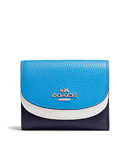 COACH DOUBLE FLAP SMALL WALLET IN COLORBLOCK LEATHER