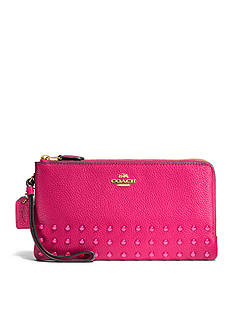 COACH Lacquer Rivets Double Zip Wallet in Pebble Leather