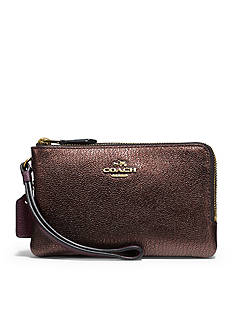 COACH Double Corner Zip Wristlet in Colorblock Leather