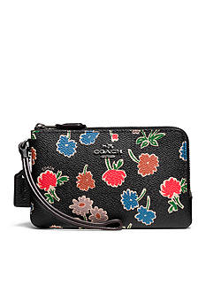 COACH Double Corner Zip Wristlet in Daisy Field Print Coated Canvas