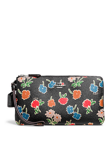 COACH Double Zip Wallet in Daisy Printed Coated Canvas