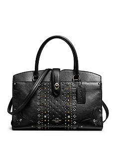 COACH BANDANA RIVETS MERCER SATCHEL 30 IN POLISHED PEBBLE LEATHER